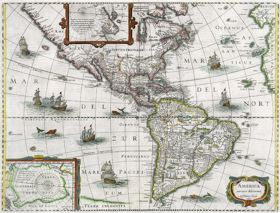 Map Of The Americas Painting - Map Of The Americas by Henricus Hondius