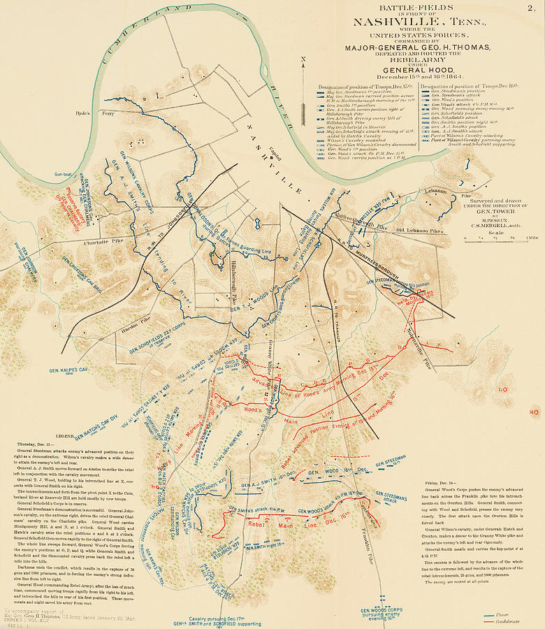 Map Of The Battle Of Nashville American Civil War Drawing By - Rustic map of the us in the civil war