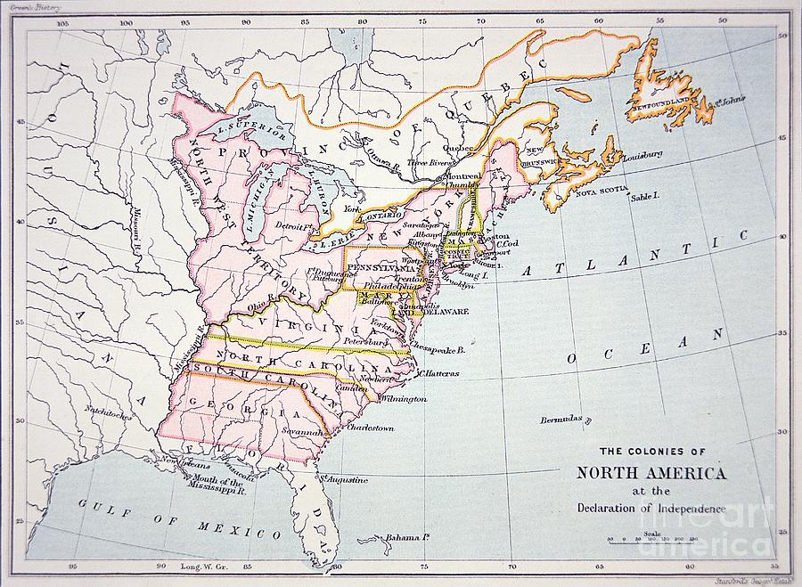 Maps Drawing - Map Of The Colonies Of North America At The Time Of The Declaration Of Independence by American School