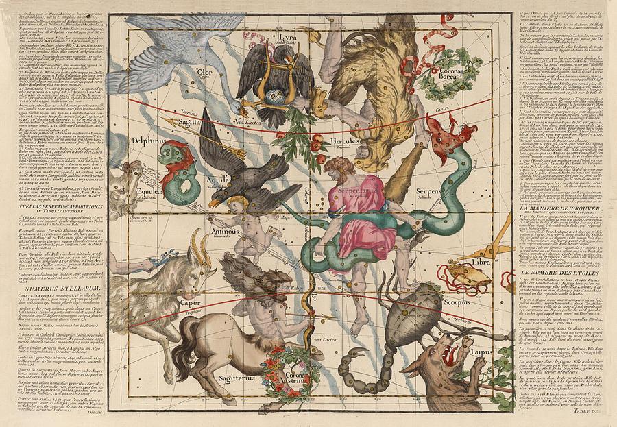 Hercules Drawing - Map of the Constellations Hercules, Sagittarius, Scorpius, Libra - Celestial Map - Antique map by Studio Grafiikka