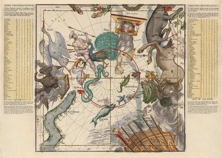 Map Of The Constellations Hydra, Indus, Chameleon, Apus, Centaurus - Celestial Map - Antique Map Drawing