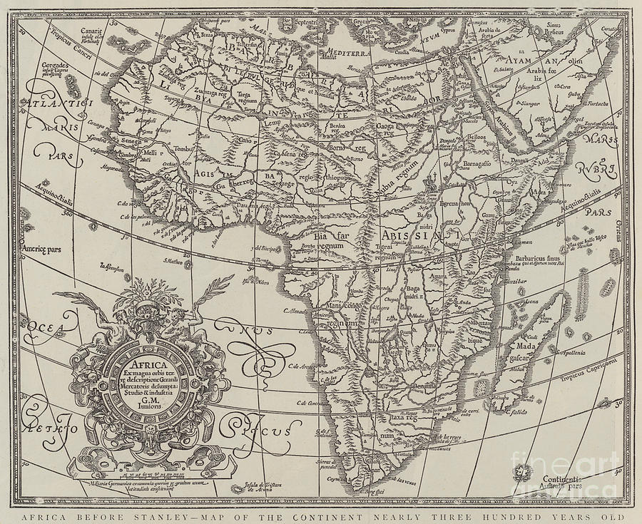 Map Of The Continent Of Africa Nearly Three Hundred Years Old ...