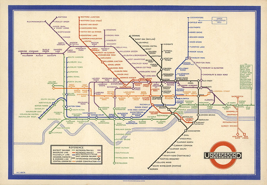 London Subway Drawing - Map Of The London Underground - London Metro - 1933 - Historical Map by Studio Grafiikka