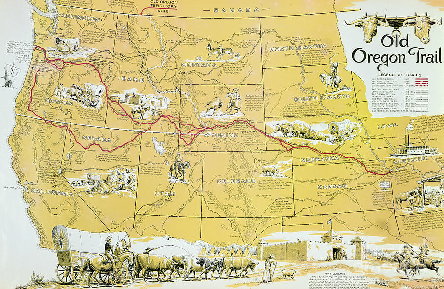 Oregon Trail Drawing - Map Of The Old Oregon Trail by American School
