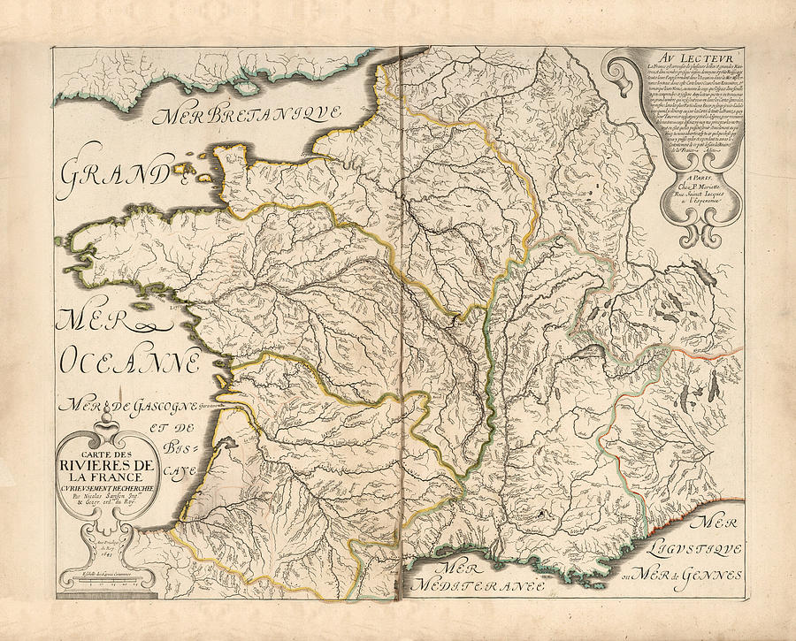 Old Map Of France.Map Of The Rivers Of France Historic Map Of France Antique Maps By Studio Grafiikka