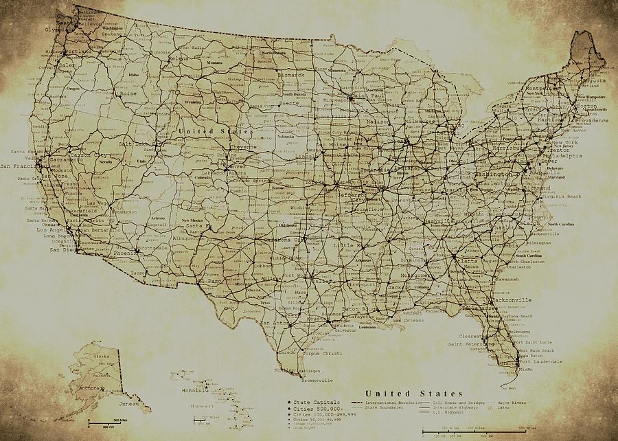 Map Of The United States In Digital Vintage Photograph By Sarah