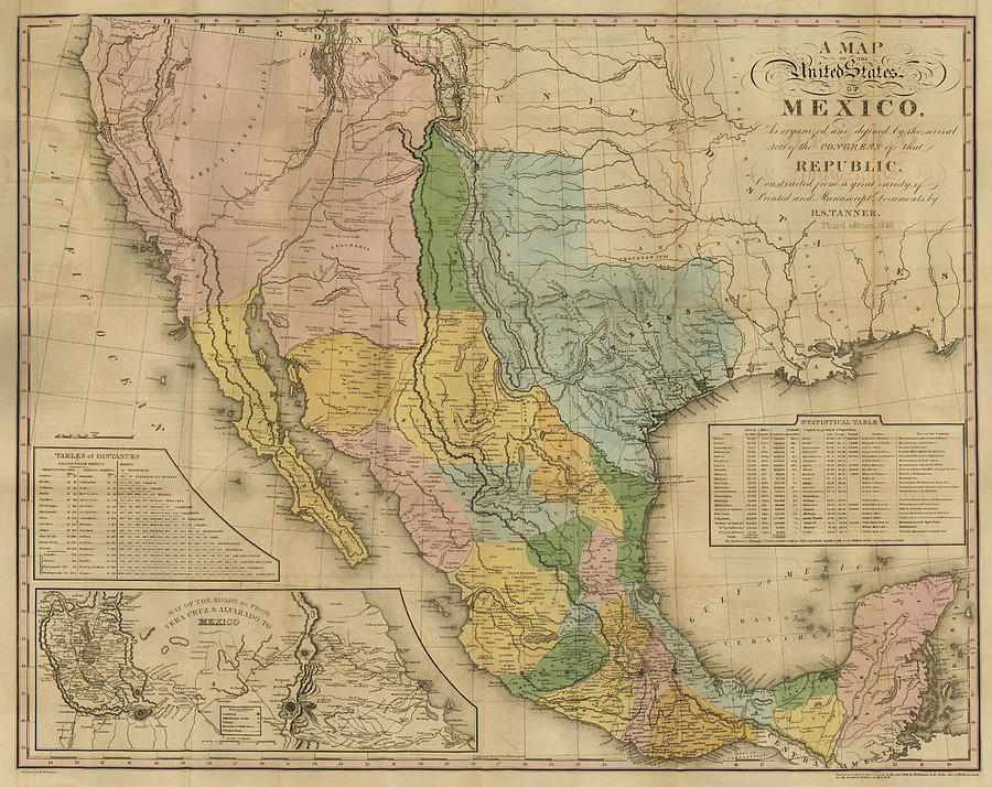 Map of the United States of Mexico, Tanner 1846 by Texas Map Store