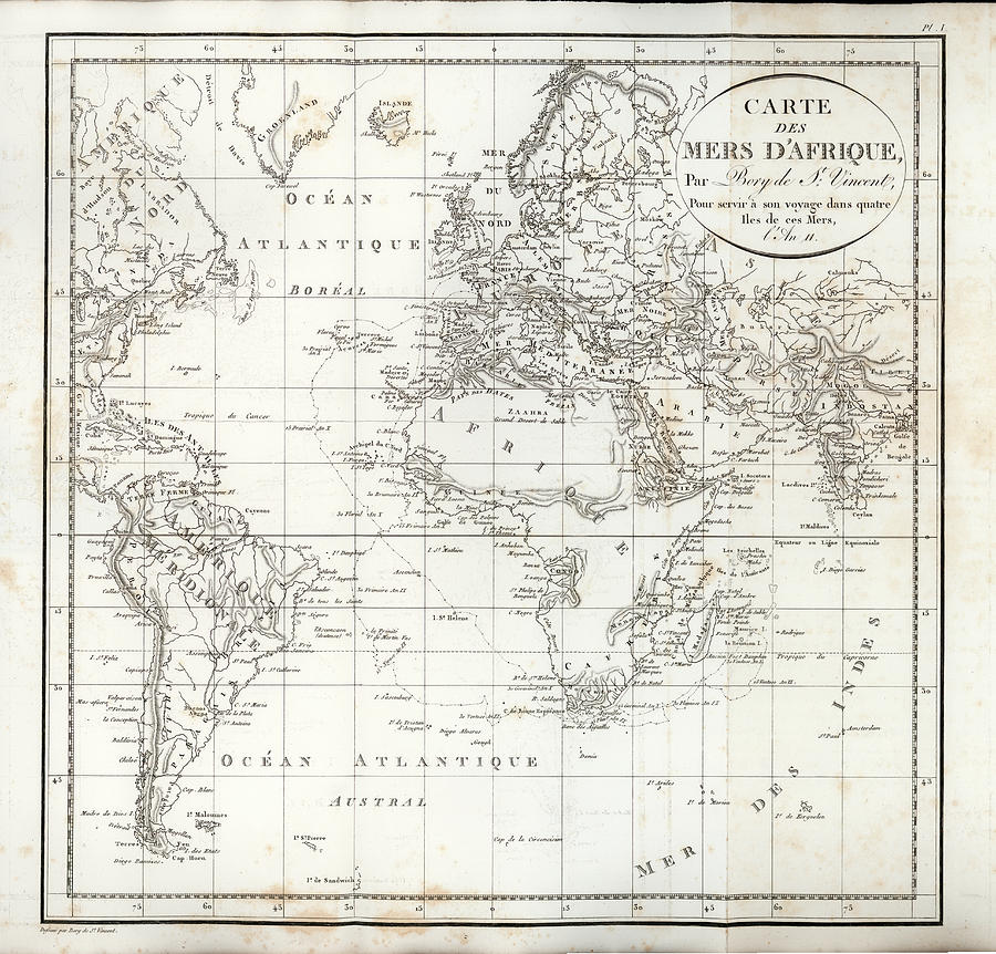 Map of the voyage to explore Islands in the Seas of Africa by J B Bory de Saint-Vincent