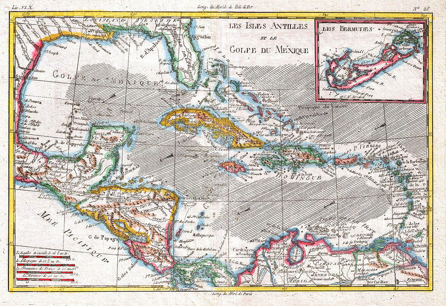 Map Of The West Indies Caribbean And Gulf Painting