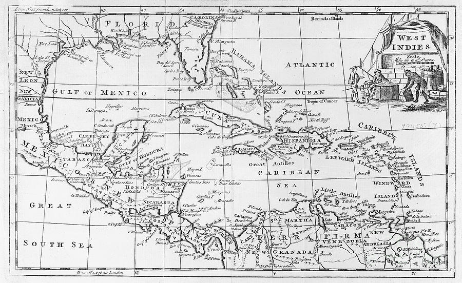 Map Painting - Map Of The West Indies Florida And South America by English School