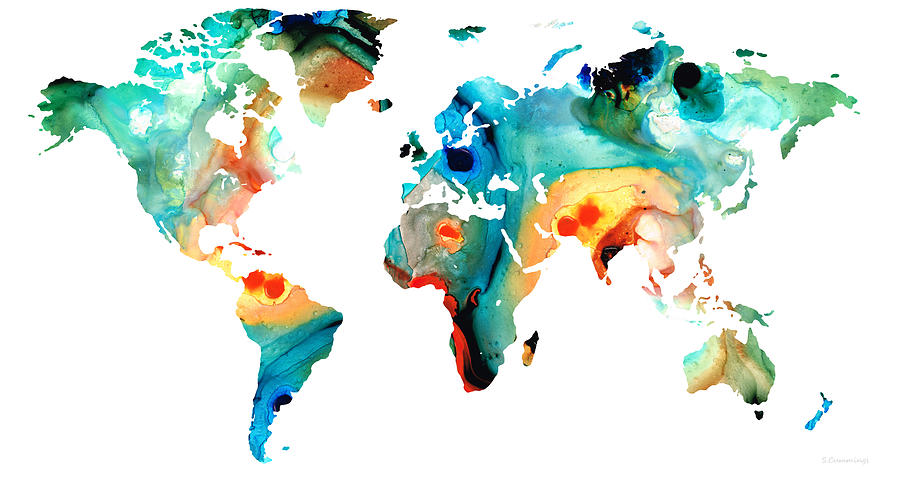 Map Of The World 11 Colorful Abstract Art Painting By