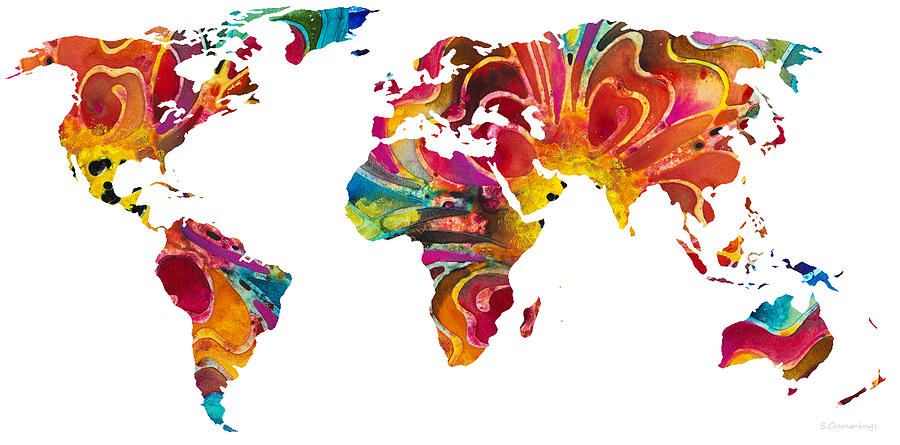 Map Of The World Colorful Abstract Art Painting By Sharon Cummings - Colorful world map painting