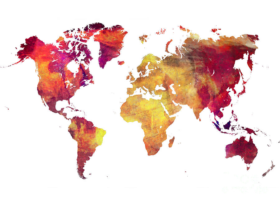 Map Of The World Digital Art - Map of  the world after nuclear war by Justyna Jaszke JBJart