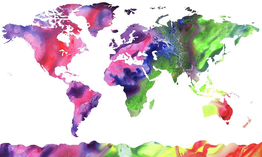 Map Of The World Bright Watercolour Painting by Irina Sztukowski