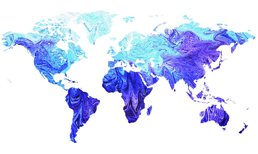 Map Of The World In Cool Blue Watercolor Painting By Irina Sztukowski