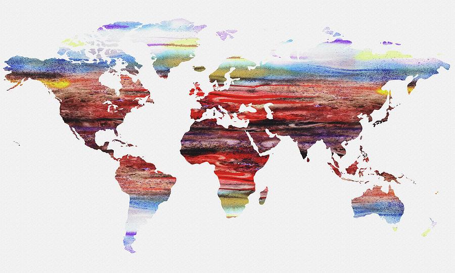 Map Of The World Watercolor Painting by Irina Sztukowski
