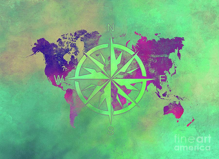 Map Of The World Wind Rose 3 Digital Art