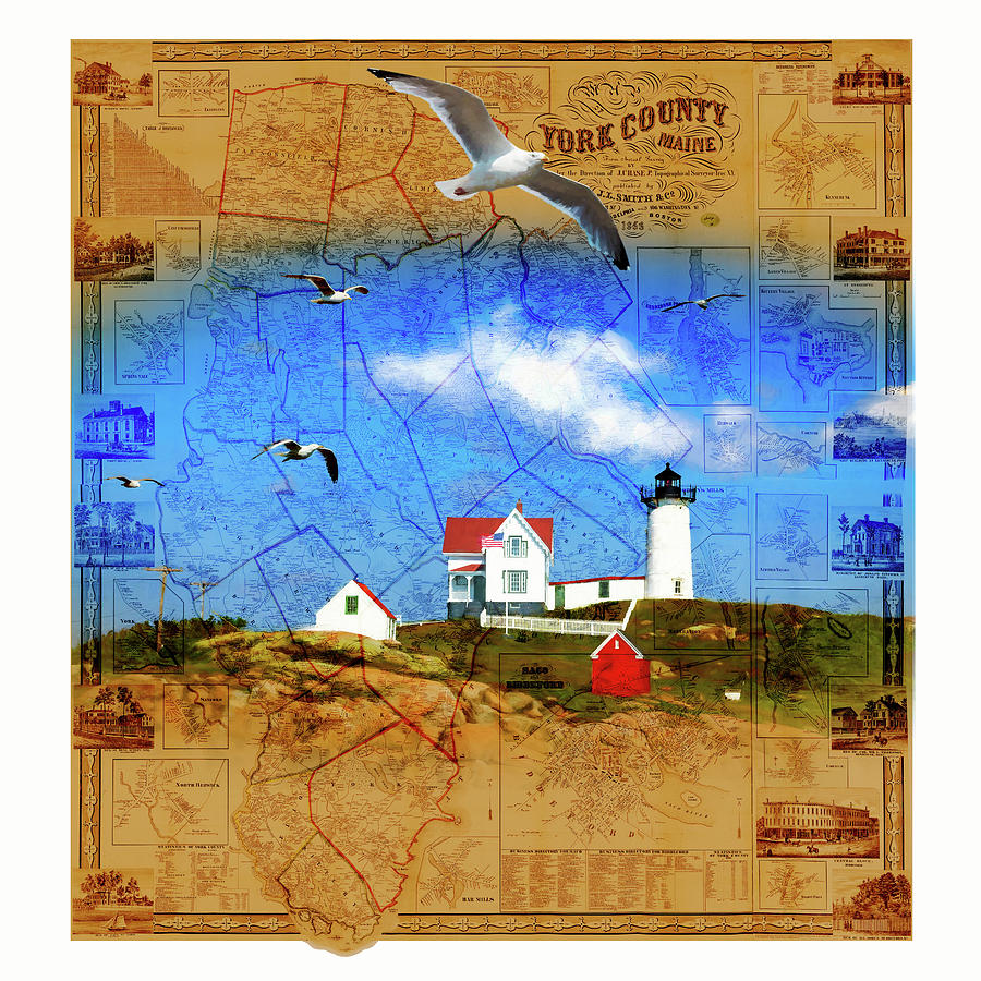 Map of York County ME with Nubble Light by Barry Wills