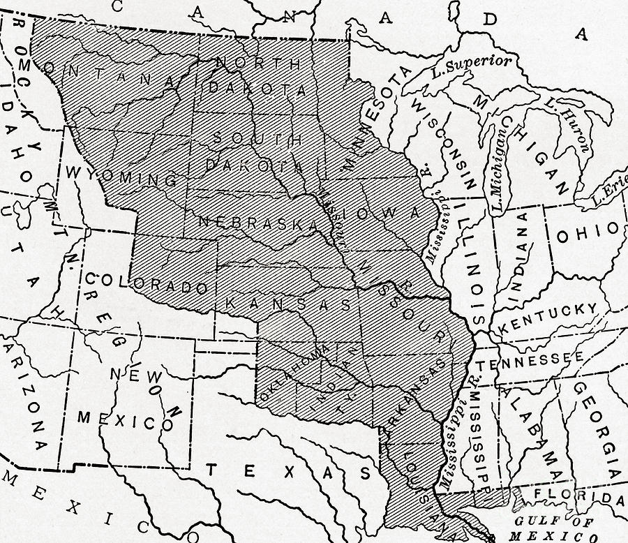 Worksheet. Map Showing The Louisiana Purchase Painting by American School