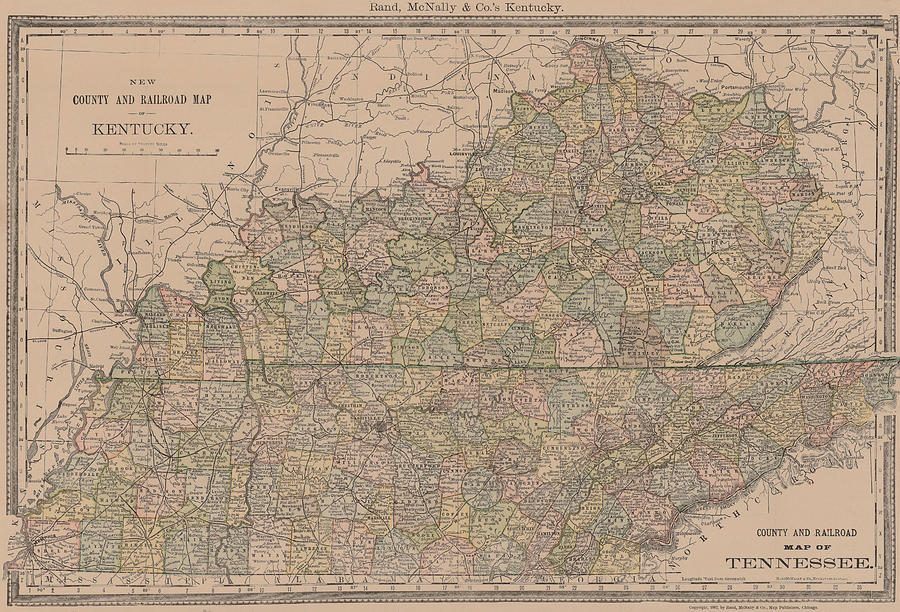Map - Usa - Vintage - Old Map - Art Wall - State - County Railroad Kentucky State Railroad Maps on pennsylvania state railroad map, ny state railroad map, oklahoma state railroad map, tennessee state railroad map, western kentucky railroad map, washington state railroad map, montana state railroad map, illinois state railroad map, louisiana state railroad map, iowa state railroad map, kentucky dot railroad map, dawkins rail trail map, new york state railroad map, missouri state railroad map, kentucky state house district map, texas state railroad map, kentucky state road map,