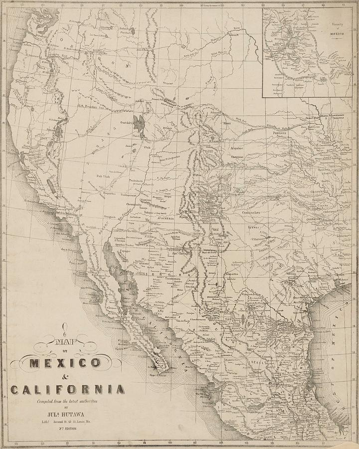 Map - Usa - Vintage - Old Map - Art Wall - State - Mexico - California