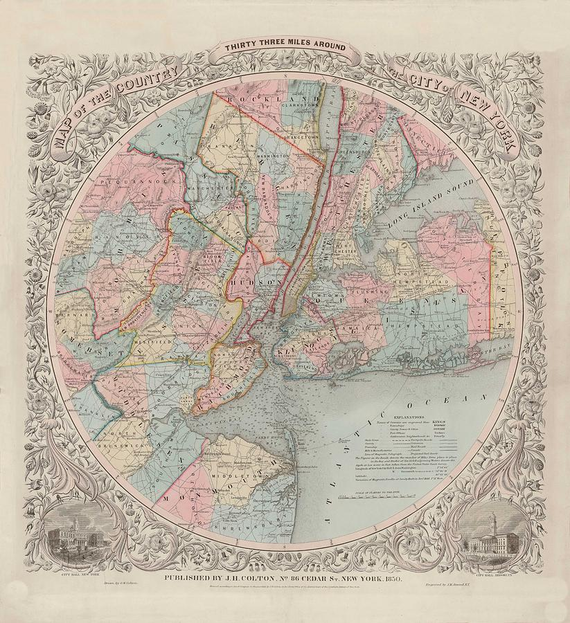 Map Of New York 1850.Map Usa Vintage Old Map Art Wall State Thirty Three Miles Around New York By Art Makes Happy