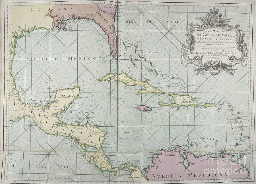 Golfo De Mexico Map.Mapa Maritimo Del Golfo De Mexico Gulf Of Mexico Map 1755
