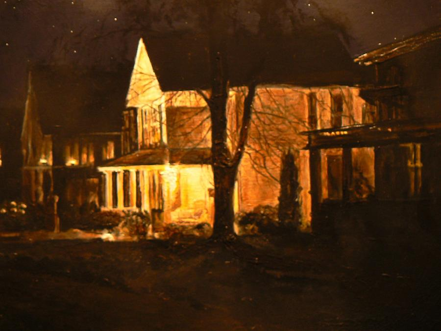 Night Scene Painting - Maple Avenue Nocturne by Thomas Akers