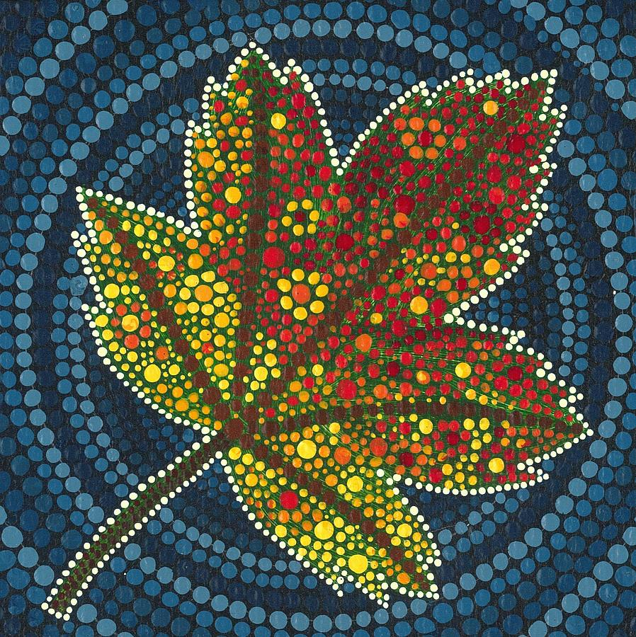 Maple Leaf Dot Painting Painting By Manny Carwile