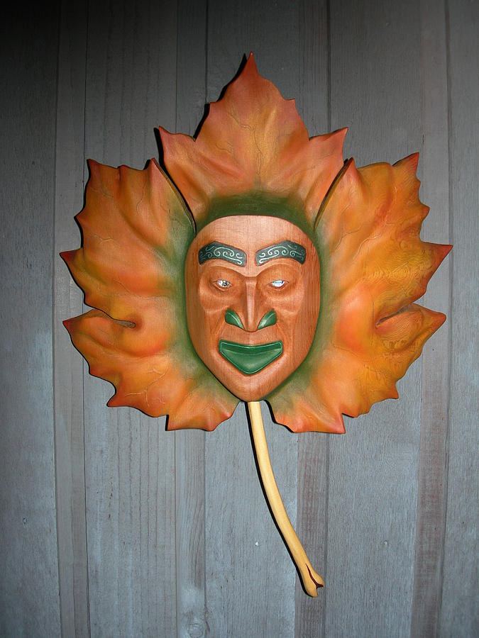 Carving Sculpture - Maple Leaf Spirit by Shane  Tweten