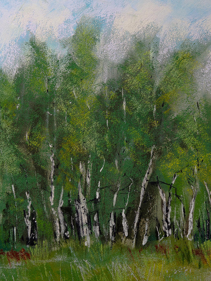 Maple Ridge Birch Trees Painting By David Patterson