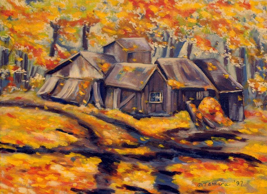 Landscape Painting - Maple Sugar Shack in Quebec by Tamara Kulish
