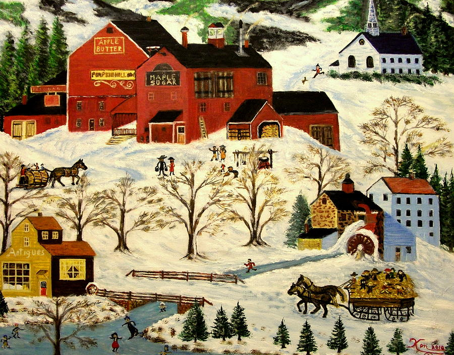 Winter Painting - Maple Syrup Factory by Kenneth LePoidevin