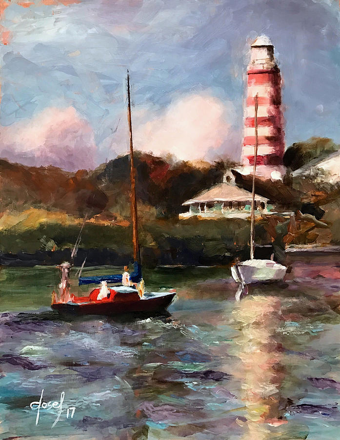 Hope Town Painting - Mara Sails Hope Town by Josef Kelly