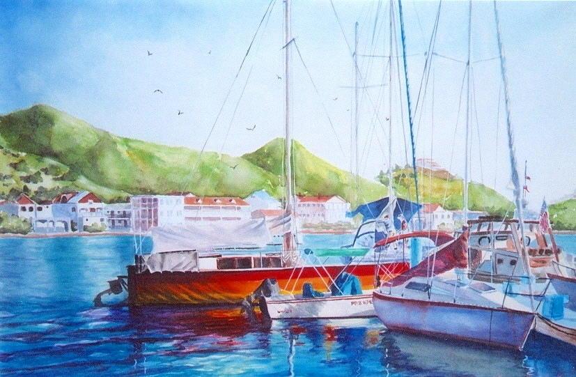 Watercolor Painting Painting - Maragot Harbor by Laura Lee Zanghetti
