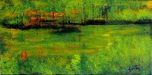 Green Painting - Marais  by Lise-marielle Fortin