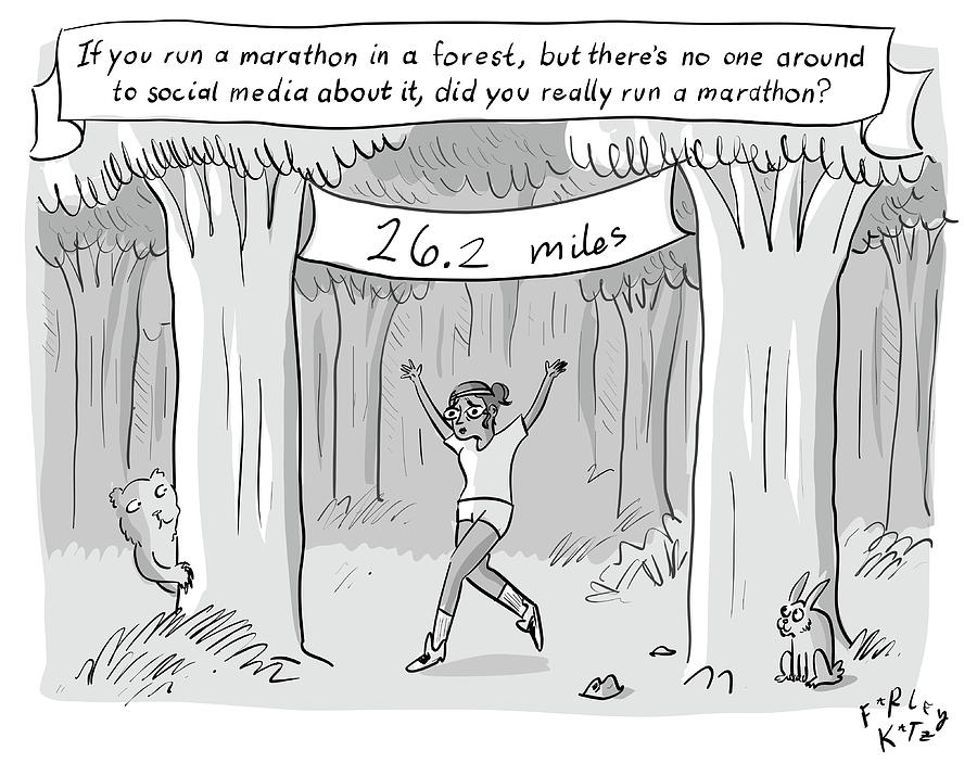 Marathon In The Woods FINISH Drawing by Farley Katz