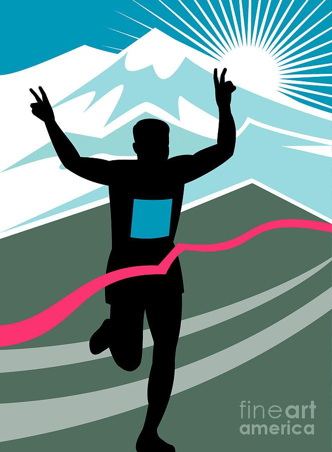Marathon Digital Art - Marathon Race Victory by Aloysius Patrimonio