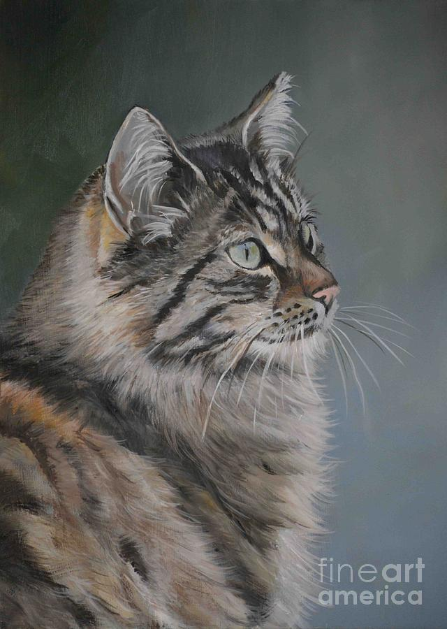 Cat Painting - Marble by Charlotte Yealey
