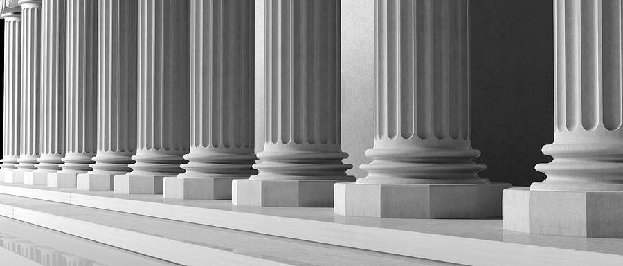 Pillars Digital Art - Marble Pillars Building Detail. 3d Illustration by George Tsartsianidis