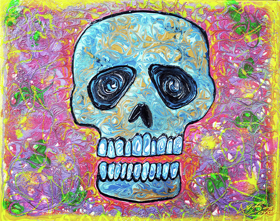 Abstract Painting - Marble Skull  by Laura Barbosa