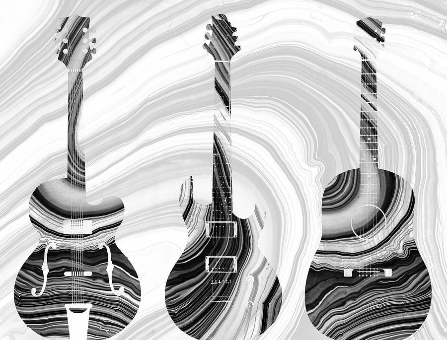 Guitar Painting - Marbled Music Art - Three Guitars - Sharon Cummings by Sharon Cummings