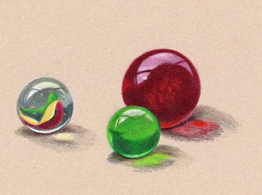 Marbles In Color Pencil Drawing