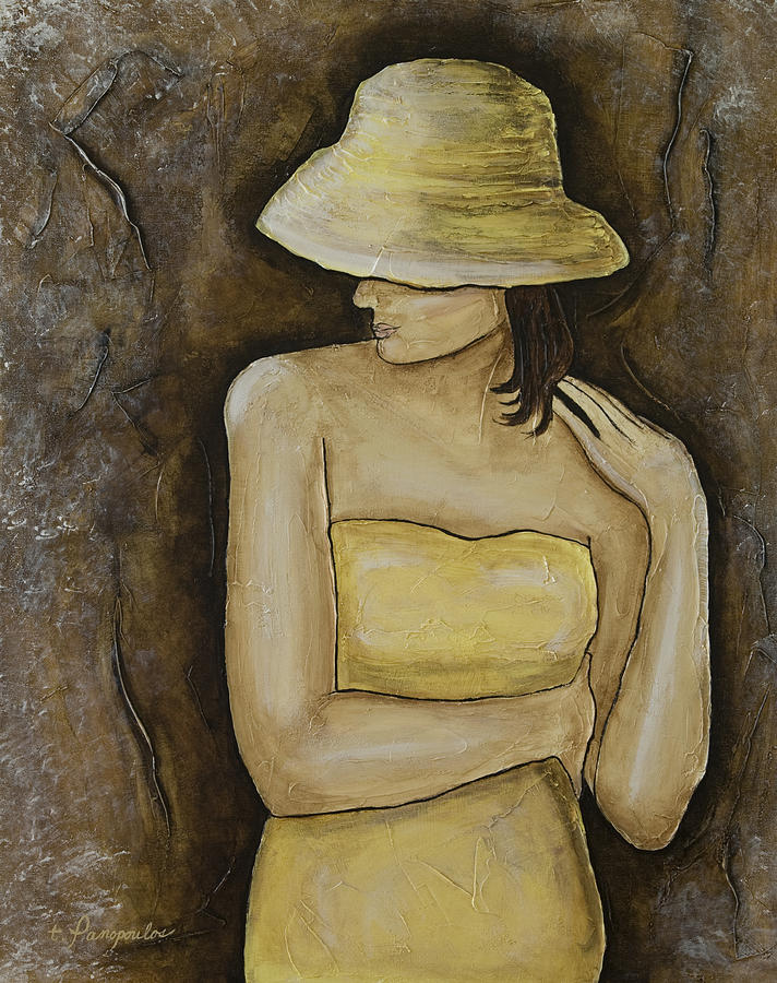 Yellow Hat Painting - Marcella by Patricia Panopoulos
