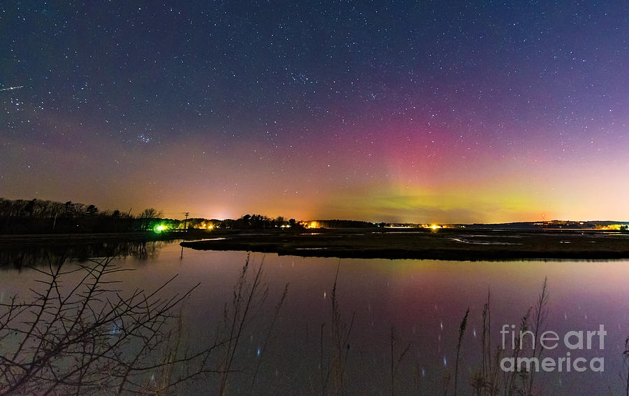 March 6 Aurora Over Scarborough Marsh  by Patrick Fennell