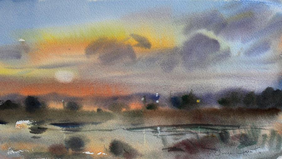 Owen Hunt Painting - March Evening On The River by Owen Hunt