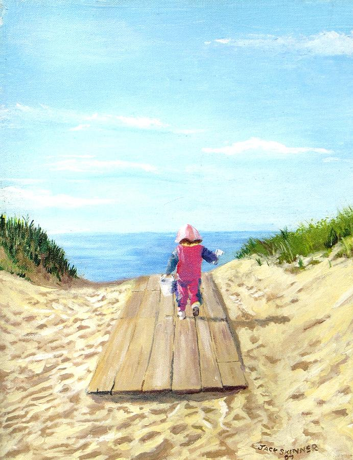 Beach Painting - March To The Beach by Jack Skinner