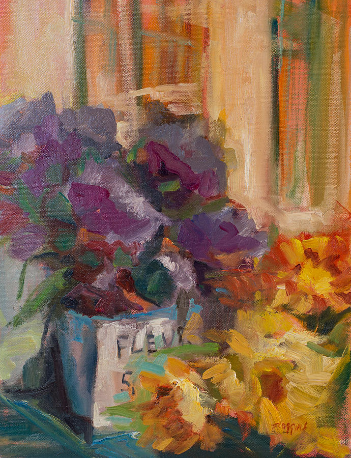 Flower Market Painting - Marche Aux Fleurs by Susan Scoggins
