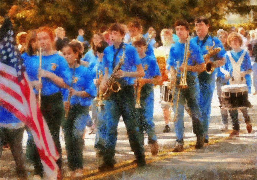 Suburbanscenes Photograph - Marching Band - Junior Marching Band  by Mike Savad