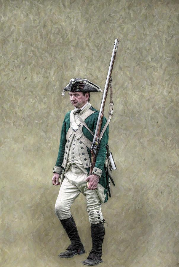 War Digital Art - Marching Loyalist Soldier Revolutionary War by Randy Steele